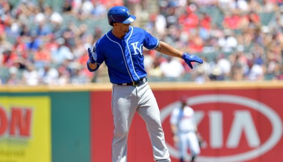Cheslor Cuthbert dio un doble y un sencillo, este domingo en las Mayores. LA PRENSA/Jason Miller/Getty Images/AFP