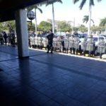 Fuerte despliegue de antimotines por piquete de autoconvocados en el sector de Plaza España
