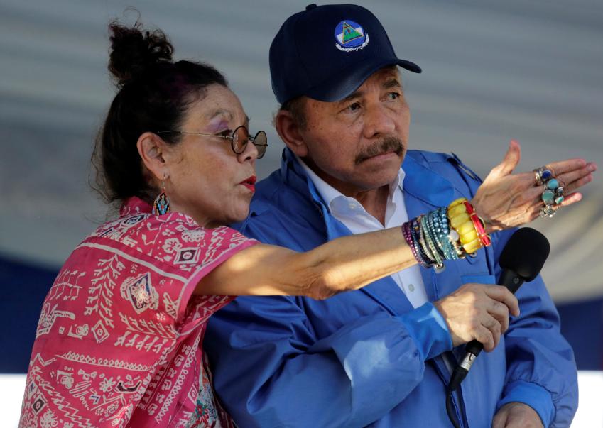 A Daniel Ortega no se le mira en ningún acto oficial desde febrero, mientras que Murillo solo habla por la televisión. LA PRENSA/ARCHIVO