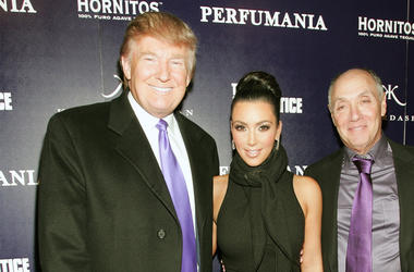 NEW YORK - NOVEMBER 10: (L-R) Donald Trump, Kim Kardashian, and Perfumania's Steven Nussdorf celebrates Kim Kardashian's appearance on 'The Apprentice' at Provacateur on November 10, 2010 in New York, New York. (Photo by John W. Ferguson/Getty Images)
