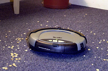 SOMERVILLE, MA - SEPTEMBER 25: iRobot's Roomba (TM) Intelligent FloorVac - billed as the first automatic floor cleaner in the U.S., is demonstrated at the company headquarters September 25, 2002 in Somerville, Massachusets. Roomba's unique advanced naviga