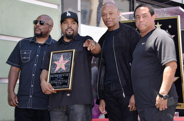N.W.A - MC Ren. Ice Cube, Dr. Dre and DJ Yella at the Ice Cube Star On The Hollywood Walk Of Fame Ceremony held in front of Musicians Institute in Hollywood, CA on Monday, June 12, 2017. (Photo By Sthanlee B. Mirador)