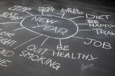 New year resolution planning on a blackboard, Healthy Lifestyle, future target (Photo credit: Ronnie Wu/Dreamstime)