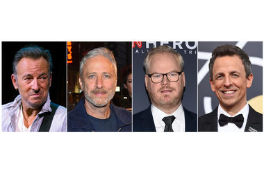 Bruce Springsteen, comedian Jon Stewart, comedian Jim Gaffigan and late night talk show host Seth Meyers