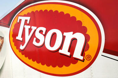 In this Oct. 28, 2009, file photo, a Tyson Foods, Inc., truck is parked at a food warehouse in Little Rock, Ark. Tyson Foods is recalling more than 36,000 pounds (16,329 kilograms) of chicken nuggets because they may be contaminated with rubber. The U.S.