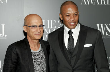 In this Nov. 5, 2014 file photo, Jimmy Iovine, left, and Dr. Dre, right, attend the WSJ. Magazine 2014 Innovator Awards in New York. A jury has found that Dr. Dre, music mogul Jimmy Iovine and their headphone company Beats Electronics owe a former partner