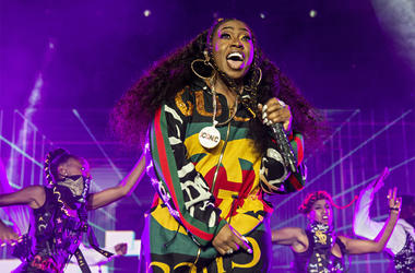 "In this July 7, 2018 file photo, Missy Elliott performs at the 2018 Essence Festival in New Orleans. A Rhode Island woman's karaoke version of Missy Elliott's hit song ""Work It"" has become an internet sensation, even drawing praise from Elliott herself. M"