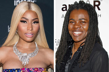 This combination photo shows Nicki Minaj at the Harper's BAZAAR 'Icons by Carine Roitfeld' party in New York on Sept. 8, 2017, left, and Tracy Chapman at a benefit event on behalf of amfAR (American Foundation for AIDS Research) in New York on Jan. 31, 20