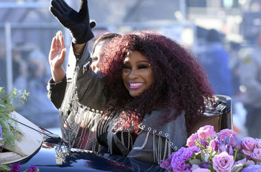 Tournament of Roses Grand Marshal Chaka Khan waves during the 130th Rose Parade in Pasadena, Calif., Tuesday, Jan. 1, 2019. (AP Photo/Michael Owen Baker)