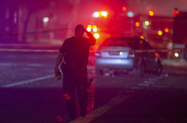 Davis Police closed the area near 5th and C streets in Davis, Calif., after a police officer was shot on Thursday, Jan. 10, 2019. A Davis police officer was shot Thursday night while responding to a traffic accident, and authorities cordoned off parts of