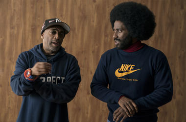 """This image released by Focus features shows director Spike Lee, left, and actor John David Washington on the set of """"BlacKkKlansma."""" Lee was nominated for an Oscar award for best director for his film, """"BlacKkKlansman."""" The film was also nominated for bes"""
