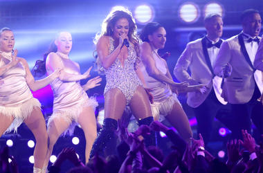 Jennifer Lopez performs a medley during a tribute to Motown's 60th anniversary at the 61st annual Grammy Awards on Sunday, Feb. 10, 2019, in Los Angeles. (Photo by Matt Sayles/Invision/AP)