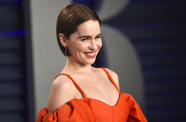This Feb. 24, 2019 file photo, Emilia Clarke arrives at the Vanity Fair Oscar Party in Beverly Hills, Calif.