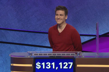 "This file image made from video and provided by Jeopardy Productions, Inc. shows ""Jeopardy!"" contestant James Holzhauer on an episode that aired on April 17, 2019. (Jeopardy Productions, Inc. via AP)"