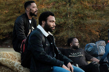 Donald Glover, Brian Tyree Henry, and Lakeith Stanfield in 'Atlanta' (Photo by - © Copyright 2018, FX Networks. All Rights Reserved.)