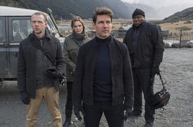 "Simon Pegg, Rebecca Ferguson, Tom Cruise and Ving Rhames in ""Mission: Impossible - Fallout"" (Photo credit: Paramount Pictures)"