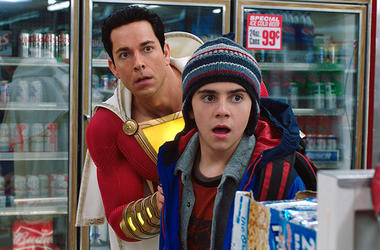"Zachary Levi and Jack Dylan Grazer in ""Shazam!"" (Photo credit: Warner Bros)"