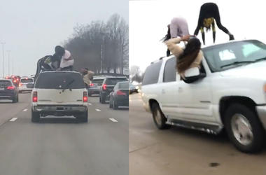 Women Dangerously Twerk On Top of Moving Car On Highway