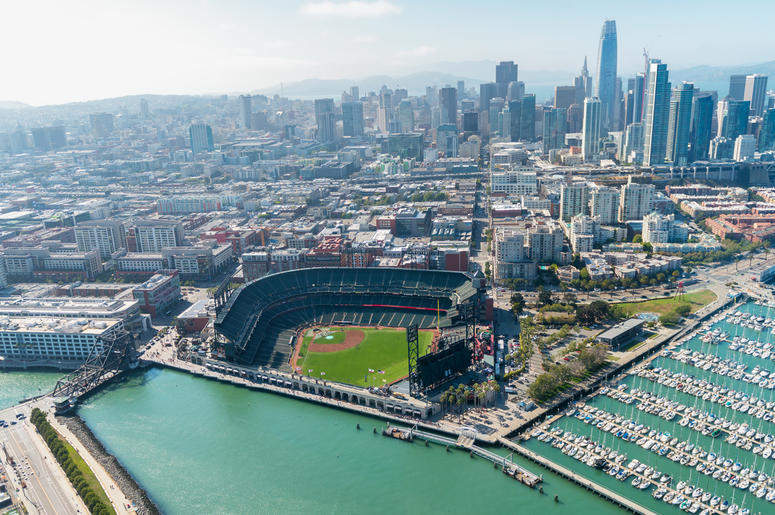 Aerial view of San Francisco skyline and AT&T Park on a beautiful sunny summer. (Photo credit: ©Giovanni Gagliardi/Dreamstime)