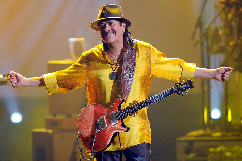 LOS ANGELES, CA - NOVEMBER 21: Musician Carlos Santana performs onstage during the 2010 American Music Awards held at Nokia Theatre L.A. Live on November 21, 2010 in Los Angeles, California. (Photo by Kevork Djansezian/Getty Images for DCP)
