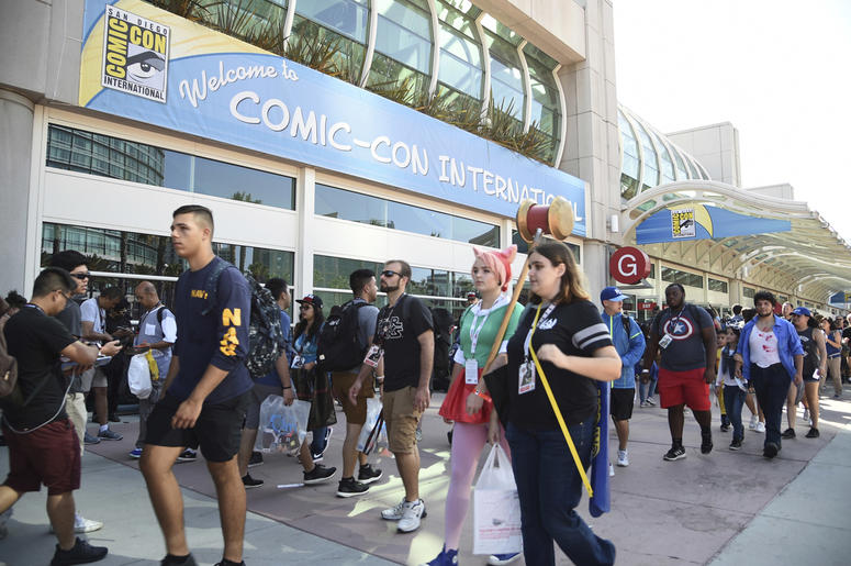 In this Thursday, July 20, 2017, file photo, guests attend the first day of Comic-Con International in San Diego. More than 130,000 pop culture devotees are descending on San Diego's Gaslamp District, Wednesday, July 18, 2018, for the annual four-day comi