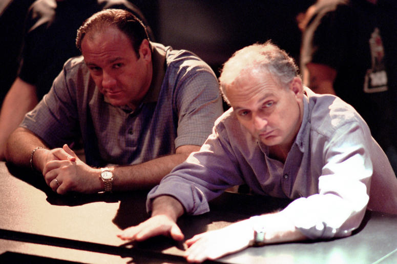 The Sopranos, HBO's Hit Series About A Modern-Day Mob Boss Caught Between Responsibilities To His Family And His 'Family,' Debuts New Episodes On Sunday Nights. Pictured: Series Star James Gandolfini And David Chase, The Show's Creator.