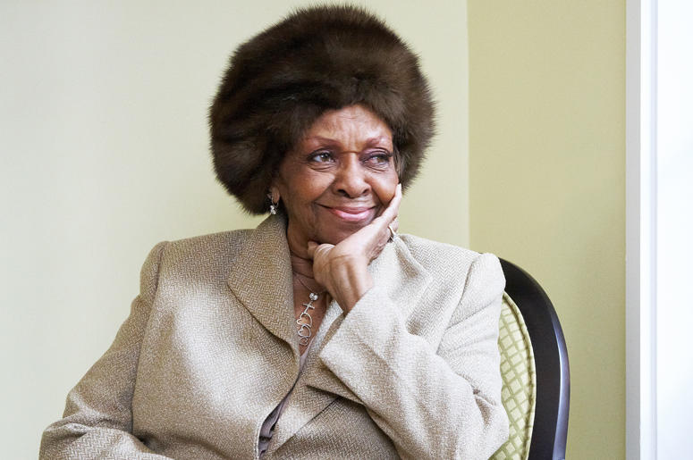 """In this Jan. 22, 2013, file photo American gospel singer and author Cissy Houston poses for a portrait in New York. Cissy Houston, Whitney Houston's mother, said allegations that her superstar daughter and her son were molested by her niece are """"unfathoma"""