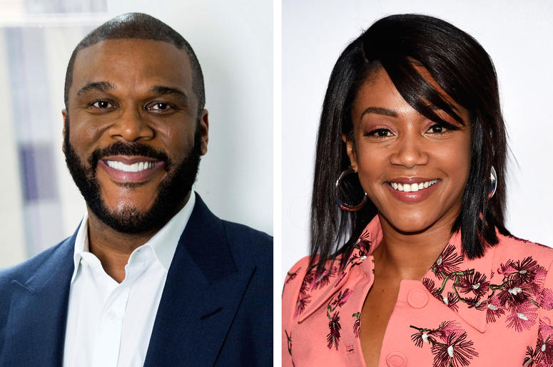 """This combination photo shows actor-filmmaker Tyler Perry in New York on Nov. 16, 2017, left, and comedian-actress Tiffany Haddish at the Turner Networks 2018 Upfront in New York on May 16, 2018. Perry, who cast Haddish in his upcoming comedy """"Nobody's Foo"""