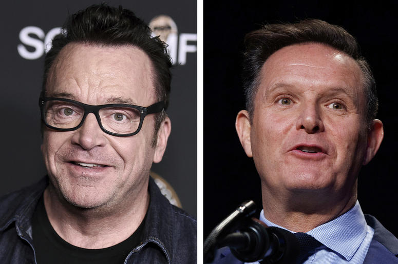 """In this combination of photos, Tom Arnold, left, attends a premiere on Oct. 10, 2017, in Los Angeles and Mark Burnett speaks during the National Prayer Breakfast on Feb. 2, 2017, in Washington. A scuffle between Arnold and Burnett a producer of """"The Appre"""