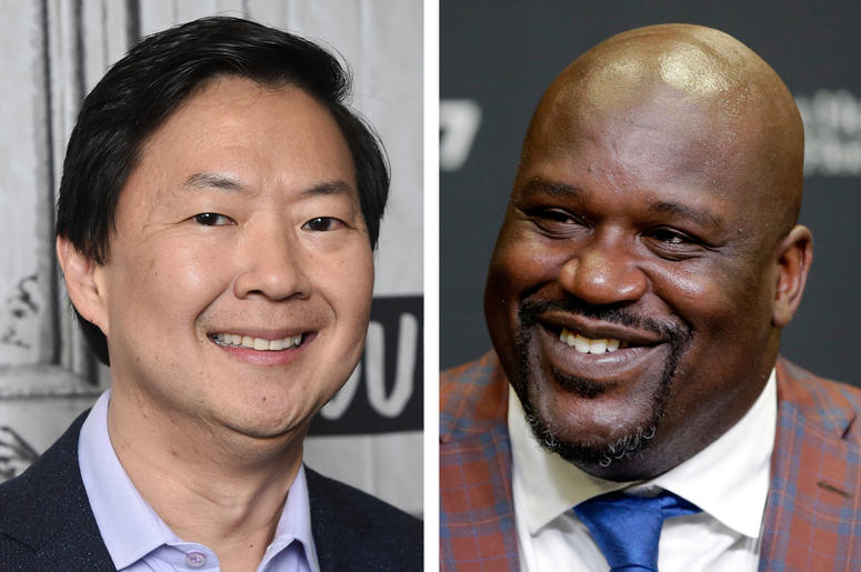 "This combination photo shows actor Ken Jeong at the BUILD Speaker Series to discuss the film ""Crazy Rich Asians"" in New York on Aug. 14, 2018, left, and retired Hall of Fame basketball player Shaquille O'Neal during an NBA basketball news conference in Mi"