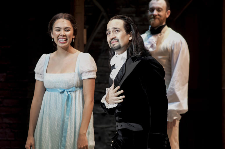 Lin-Manuel Miranda, composer and creator of the award-winning Broadway musical, Hamilton, receives a standing ovation with tears at the ending of the play's premiere held at the Santurce Fine Arts Center, in San Juan, Puerto Rico, Friday Jan. 11, 2019. Th