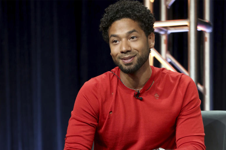 "In this Aug. 8, 2017 file photo, Jussie Smollett participates in the ""Empire"" panel during the FOX Television Critics Association Summer Press Tour at the Beverly Hilton in Beverly Hills, Calif. Smollett, an actor on the TV series ""Empire,"" is also an R&B"