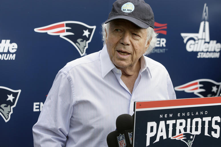 In this June 7, 2018, file photo, New England Patriots owner Robert Kraft speaks with reporters following an NFL football minicamp practice, in Foxborough, Mass. Police in Florida have charged New England Patriots owner Robert Kraft with misdemeanor solic