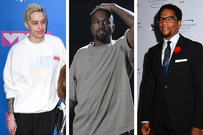 Pete Davidson, Kanye West and D. L. Hughley (Photo credit: Birdie Thompson/PA Images/Sipa USA)