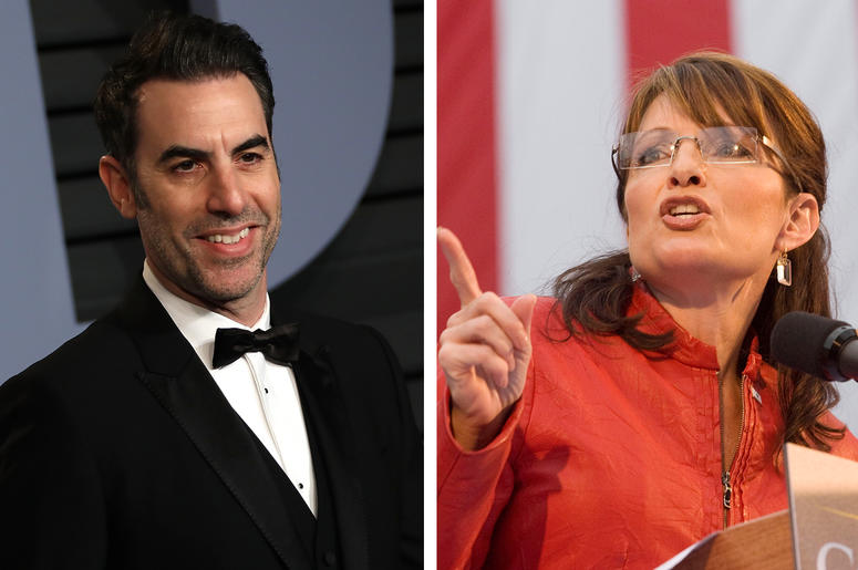 Sacha Baron Cohen and Sarah Palin (Photo credit: JC Olivera/Jessica Griffin/Philadelphia Daily News/MCT/Sipa USA)
