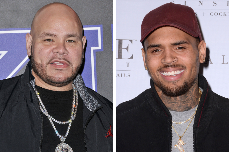 """Fat Joe arrives at the 2018 Rookie USA Fashion Show held at MILK in Los Angeles, CA on Thursday, February 15, 2018. / Chris Brown. Arrivals for the Chris Brown Listening Party For """"Royalty"""" held at Hyde Sunset Kitchen + Cocktails."""
