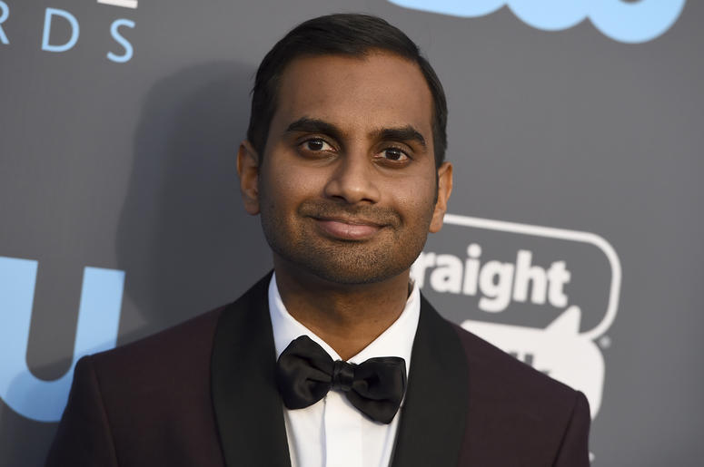 """FILE - In this Jan. 11, 2018 file photo, Aziz Ansari arrives at the 23rd annual Critics' Choice Awards at the Barker Hangar in Santa Monica, Calif. Netflix is standing by """"Master of None"""" and Ansari despite a sexual-misconduct allegation against him earli"""