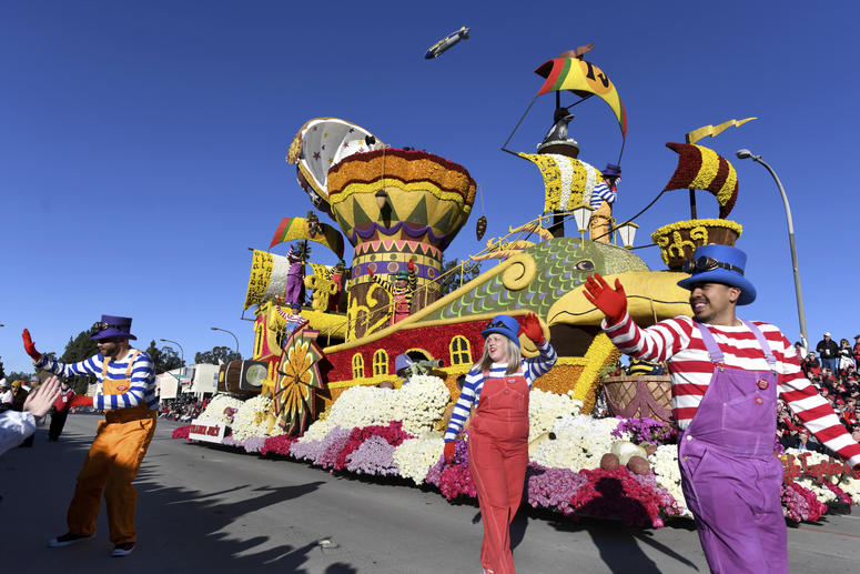 Trader Joe's company float, which won the Crown City Innovator Award, proceeds down the route during the 130th Rose Parade in Pasadena, Calif., Tuesday, Jan. 1, 2019. (AP Photo/Michael Owen Baker)