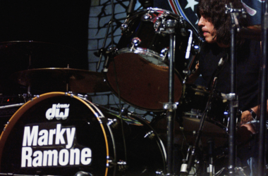 Drummer Marky Ramone performs onstage with the Ramones