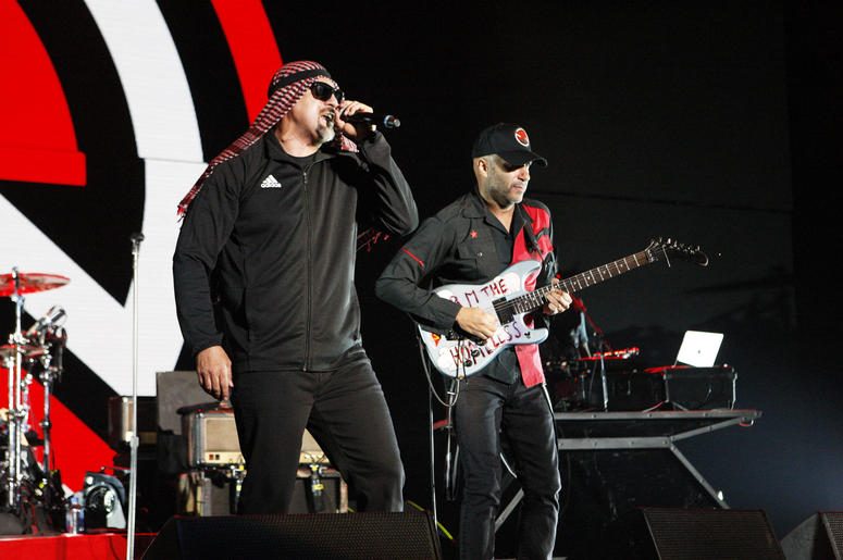 B-Real and Tom Morello of Prophets of Rage perform onstage during KROQ Almost Acoustic Christmas