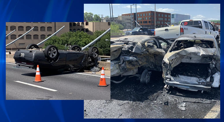 Fiery multi-vehicle crash causes I-35 delays downtown | Talk 1370am