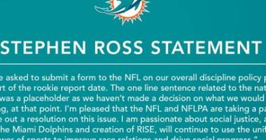 Dolphins' Owner Releases Updated Anthem Statement