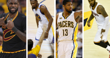 LeBron James of the Cleveland Cavaliers, Kevin Durant of the Golden State Warriors, Paul George (then) of the Indiana Pacers, and Kyrie Irving of the Cleveland Cavaliers