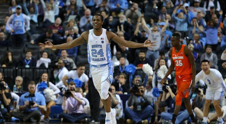 North Carolina Tar Heels guard Kenny Williams (24) reacts after a three point shot against the Syracuse Orange during the second half of a second round game of the 2018 ACC tournament at Barclays Center