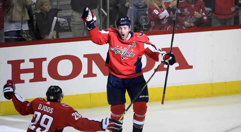 f92ceea1 Washington Capitals defenseman Brooks Orpik (44) celebrates his  game-winning goal with defenseman Christian Djoos (29), of Sweden, during  overtime of Game 2 ...