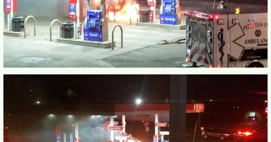 Car Fire At The Gas Pumps