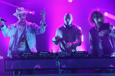 Kevin Ford, Matthew Russell and Trevor Dahl of Cheat Codes perform onstage during MTV Presents 'VMA Weekend' at Avalon on August 25, 2017 in Hollywood, California.