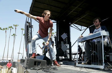 David Shaw (L) and Ed Williams of the Revivalists perform following the Synchrony Rock'n'Roll San Diego Marathon
