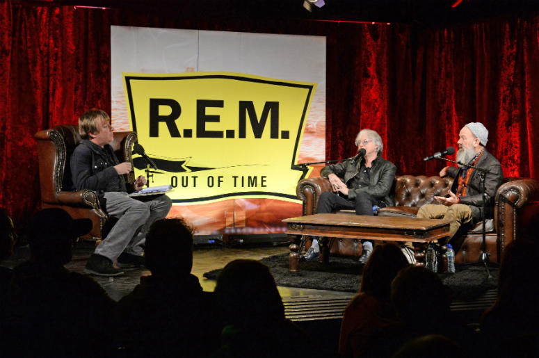 Mike Mills and Michael Stipe of R.E.M take part in a Q&A session at The Borderline in Soho, London