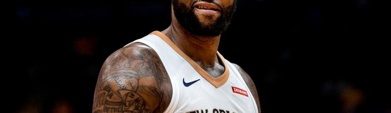 Jan 8, 2018; New Orleans, LA, USA; New Orleans Pelicans center DeMarcus Cousins (0) looks on against the Detroit Pistons during the first quarter at the Smoothie King Center.
